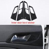 For Peugeot 308 2016 2019 carbon fiber Inner door bowl sticker 4pcs
