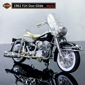 Maisto NEW 1:18 HARLEY-DAVIDSON 1962 FLH Duo Glide Alloy Diecast Motorcycle Model Workable Toy For Children Gifts Toy Collection maisto new 1 10ducati desmosedici alloy diecast motorcycle model workable shork absorber toy for children gifts toy collection