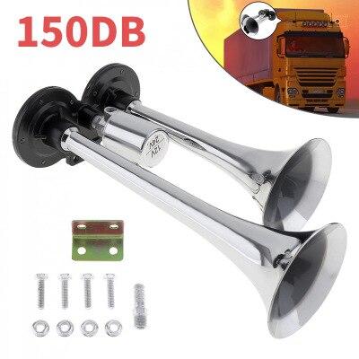 12V/24V 150DB супер громкий звуковой сигнал твитер Электрический гудок двойной трубы воздушный рожок универсальный для автомобиля Поезд Грузови...
