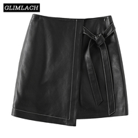 2020 Spring New Lace Up Genuine Leather A Line Skirts Women Korean Slim Fit Irregular Sexy Real Leather Mini Skirt Ladies Black