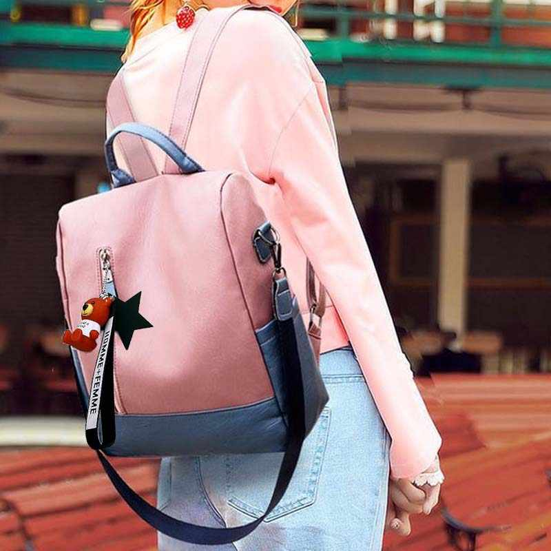 2019 new leather backpack anti-theft lady backpack suitable for teenage girls college backpack school travel bag bear pendant