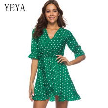YEYA Summer Beach Wave Point Print Boho Mini Dress Ruffles Wrap Casual V-Neck Sexy Party Robe Femme Hollow Out Dresses