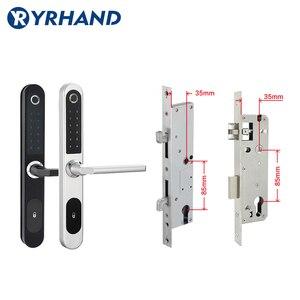 Image 4 - Cerradura electrónica Digital con huella dactilar, resistente al agua, para puerta de vidrio de aluminio con Euro mortaja 3585