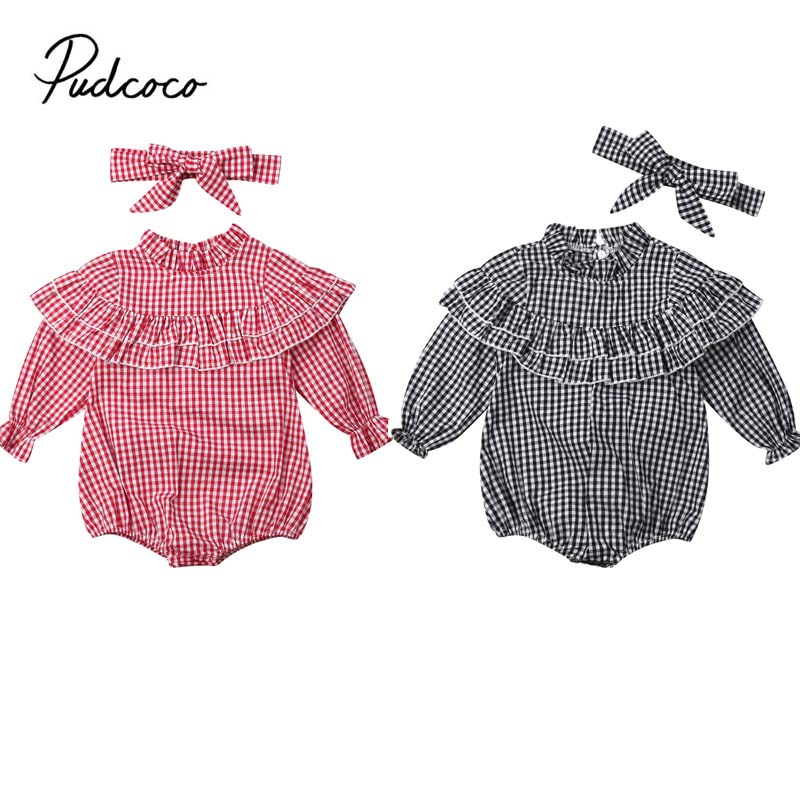 Baby Spring Autumn Clothing Newborn Infant Baby Long Sleeve Plaids Bodysuit Jumpsuit Ruffle 2PCS Set Outfit