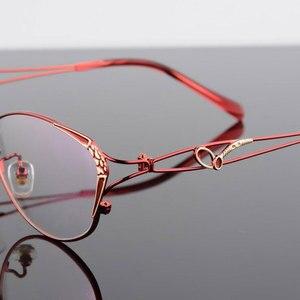 Image 2 - HOTOCHKI Legering Elegante Vrouwen Glazen Frame Vrouwelijke Vintage Optische Glazen Vlakte Oog Doos Brillen Frames Bijziendheid Eyewear
