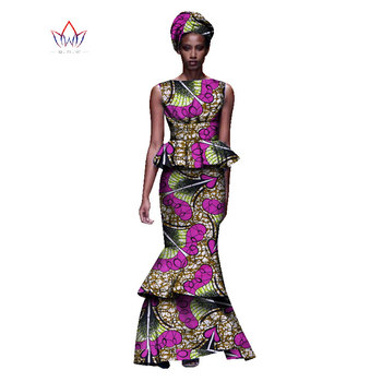 2020 New African Dresses For Women Dashiki Ladies Clothes Ankara O-Neck Africa Clothes Two Pieces Set Natural 6xl None WY1054 - 13, M