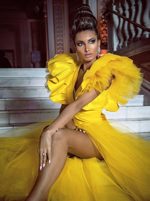 Puffy Prom Dresses vestido de fiesta Photography Shoot Ruffle Yellow Formal Prom Dresses Tulle Detachable Skirt Robe De Soiree 2