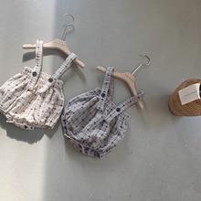 Girls Overalls Rompers Pants Bodysuit Suspender Toddler Baby New Newborn Plaid Cotton