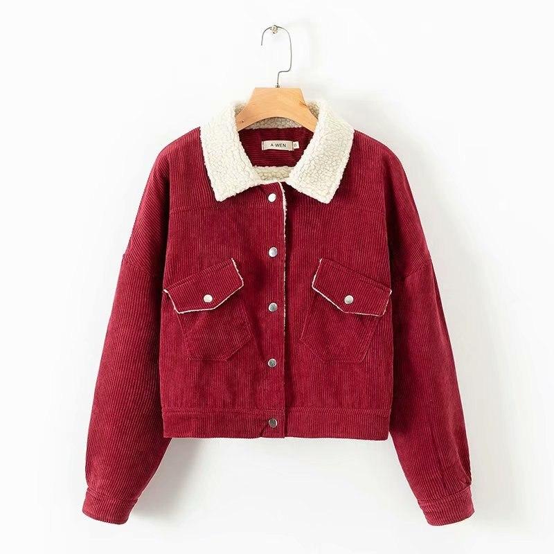 Mooirue Winter Corduroy Women Coats Wool Liner Vintage Turn Dowan Collar Casual Streetwear Short Harajuku Cardigan Jackets