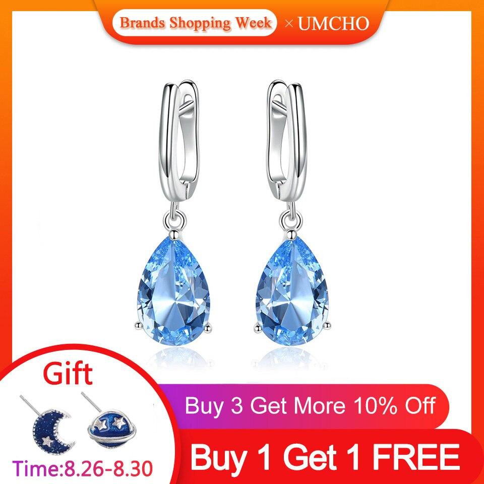 Boucles d'oreilles Clip en argent Sterling 925 véritable UMCHO pour femmes Nano topaze bleue bijoux de fiançailles anniversaire de mariage