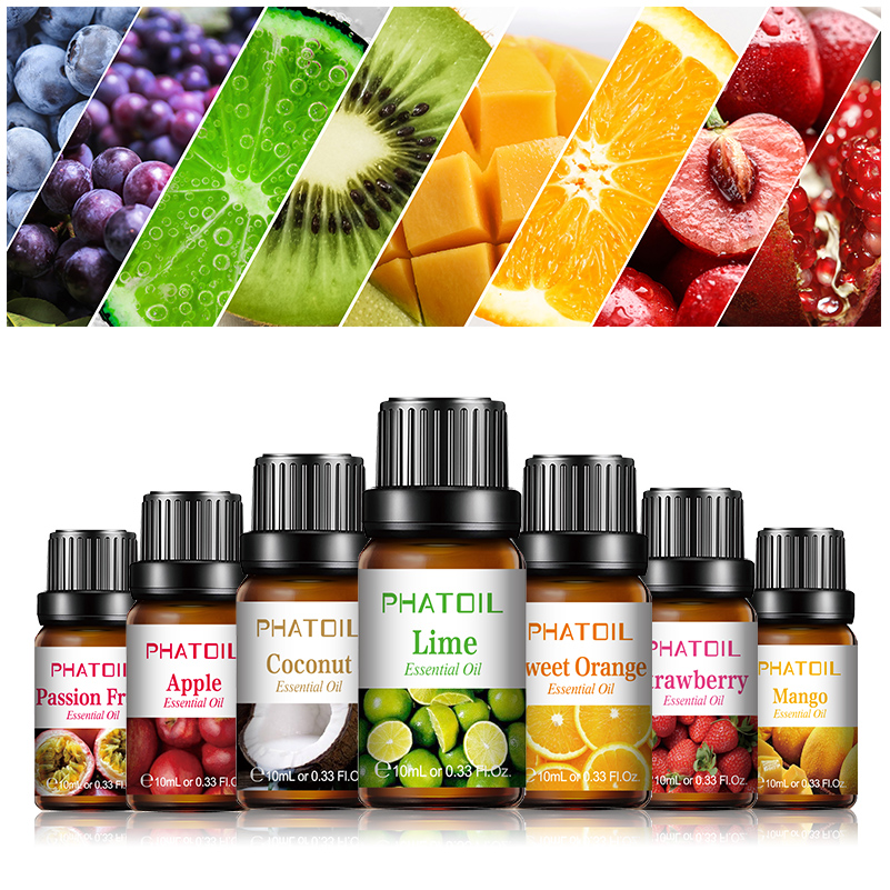PHATOIL Fruit Fragrance Oil 10ML Diffuser Aroma Essential Oil Cherry Strawberry Mango Watermelon Coconut For Soap Candle Making
