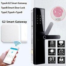 Умный дверной замок интеллектуальный электронный замок проверка отпечатков пальцев с bluetooth-картой приложение ключ 5 способов с G2 умный шлюз