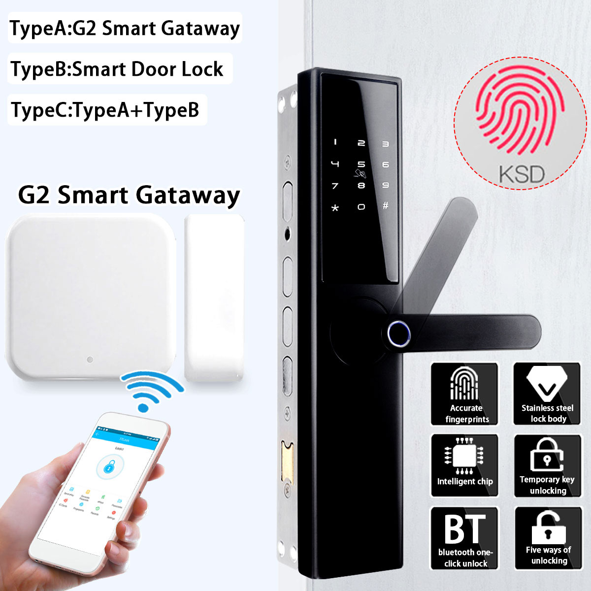 Smart Door Lock Intelligent Electronic Lock Fingerprint Verification With bluetooth Card APP Key 5 Ways with G2 Smart Gateway