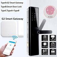 Smart Door Lock Intelligent Electronic Lock Fingerprint Verification With bluetooth Card APP Key 5 Ways with G2 Smart Gateway