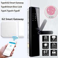 Bloqueo de puerta inteligente bloqueo electrónico inteligente verificación de huellas dactilares con tarjeta bluetooth llave de aplicación 5 maneras con G2 Smart Gateway