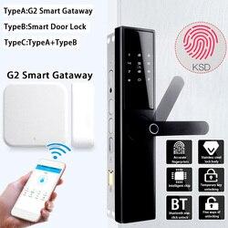 Inteligentny zamek do drzwi inteligentny zamek elektroniczny weryfikacja linii papilarnych z kartą bluetooth APP Key 5 sposobów z inteligentną bramą G2 w Zamki elektryczne od Bezpieczeństwo i ochrona na
