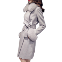 Winter Fashion New Coats Women Turn Down Collar Warm Woolen Long Coat Belt Slim Fur Collar Jacket Warm Thickening Outwear YFY57 cheap Acetate spandex COTTON winter woolen coat Turn-down Collar Covered Button REGULAR Full Sashes Pockets Wool Blends Casual