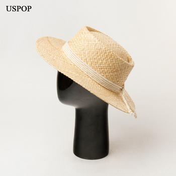USPOP 2020 nowe kapelusze rafia naturalne kapelusze słomkowe letnie kapelusze przeciwsłoneczne damskie liny dekoracje kapelusze plażowe tanie i dobre opinie Dla dorosłych WOMEN Sun kapelusze SO-7437 Na co dzień Stałe