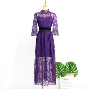 Image 5 - 紫色のブローチレース肘スリーブ女性のためのベルトデルルナホテル同じ IU リー智ジョンウン夏気質甘いドレス