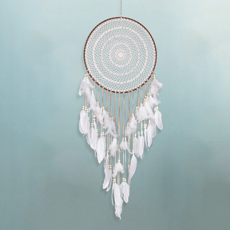 Knitted Wicker Dream Catcher Wind Chimes Nordic Home Decoration Hanging Ornament Children Room Living Room Door Decor Figurines