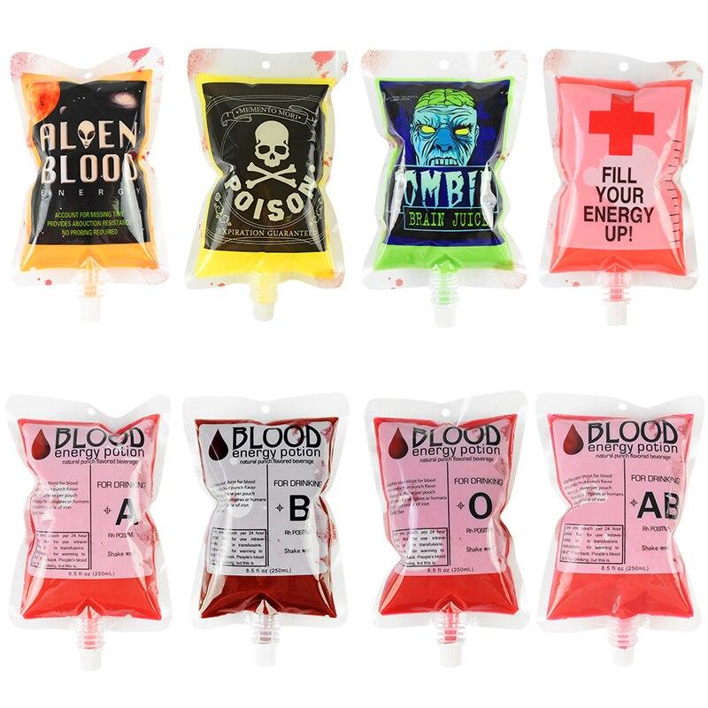 5pcs/lot 250ml PVC Blood Bag Alien Blood Zombie Brain Juice Print Drink Bag Halloween Vampire Cosplay Props Pouch Party Supplies