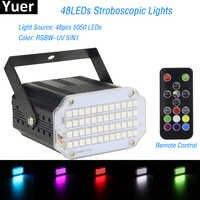 2019 alta qualtiy 48 leds smd 5050 led luz estroboscópica girando voz ativado led luzes do palco festa discoteca stroboscope lâmpada