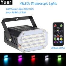 Luz Led estroboscópica giratoria de alta calidad, 48LED SMD 2019, luces de escenario Led activada por voz, fiesta, Disco, Bombilla de estroboscopio, 5050