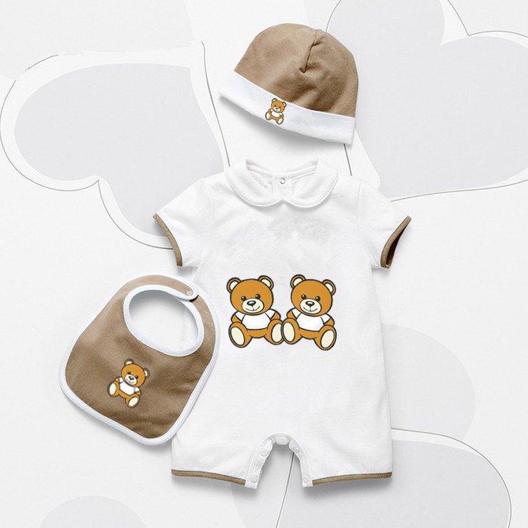 New Family Matching Clothes New Born Baby Boy Girls Rompers Hat Bibs 3 Sets Unisex Cotton Bear Pattern Newborn Baby Clothes