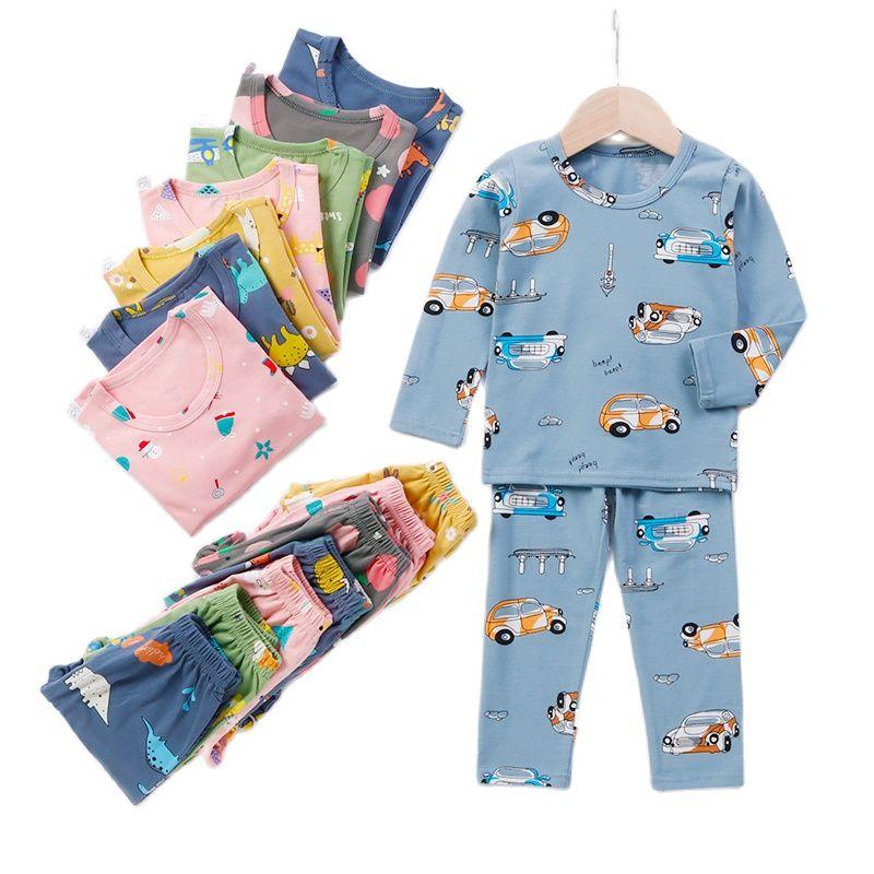 2021 Spring Autumn Kids Pajamas Boys Girls Sleepwear Children Toddler Lounge Set Teenagers Clothing Set