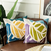Leaf Cushion Cover Embroidered Abstract Geometric Pillowcase Tassels Fringe Square Pillow 45x45cm/30x50cm Home Decoration