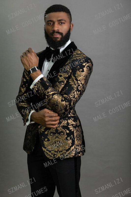 New Elegant 2020 Costume Homme Shawl Lapel Black Jacquard Dinner Party Groom Wear Men Wedding Suits For Men Prom Tuxedo Blazer