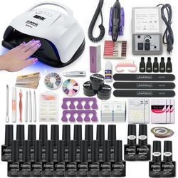 Super juego de manicura para Kit de uñas con lámpara led para uñas 20000RPM conjunto de esmalte de uñas acrílico Kit conjunto de herramientas para manicura