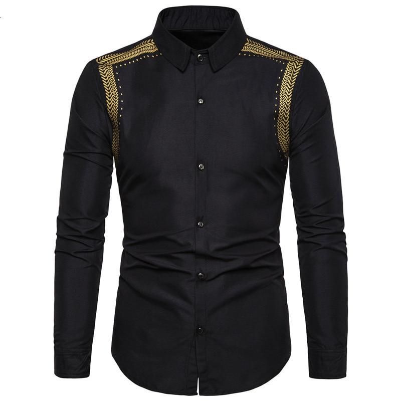 Handsome Black Shirts Men Muslim Shirt Fashion Musulman Blousees Slim Long Sleeve Cardigan Dress Shirt Moroccan Islamic Clothes