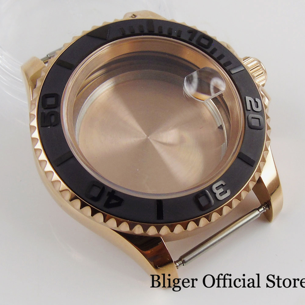 Relógio de Vidro Ouro Rosa Revestido Polido Case Safira Ajuste Eta 2836 Miyota Mingzhu 2813 Movimento 41mm