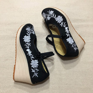Image 2 - Veowalk Vegan Women Embroidered Canvas Wedge Platform Shoes Comfort Cotton Embroidery Vintage Ladies Casual Wedged High Heels