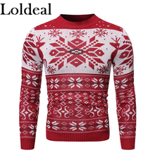 Loldeal Fashion Long-sleeved Sweater Casual Snowflake Batik Round Neck Slim Warm Men