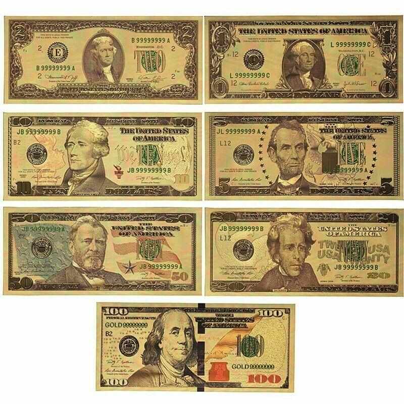 7 pces usd 1/2/5/10/20/50/100 ouro dólar bill conjunto completo de notas de ouro colorido
