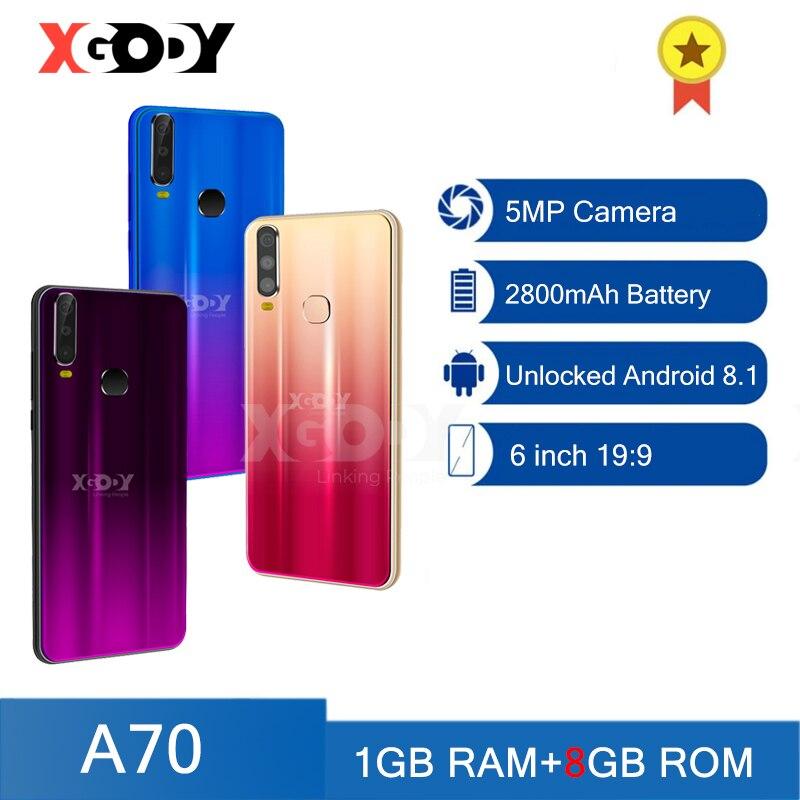 Xgody-teléfono inteligente A70 3G, teléfono móvil con 1GB RAM, 8GB rom, desbloqueo, Android, 6 pulgadas, Quad Core, SIM Dual, GPS, WiFI, cámara de 5,0mp, 2020