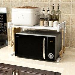 Metalen bakken verf Telescopische magnetron owen rack keuken organisator en opslag keuken benodigdheden grote opslagcapaciteit ruimte