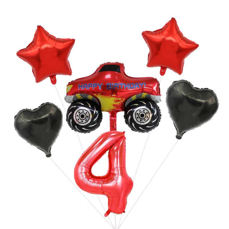 Blaze Monster Machines Thema Nummer Ballonnen Set Gelukkige Verjaardag Jongens Gunsten Vlaggen Party Decoraties Baby Shower Evenementen