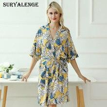 女性の夏と秋薄型セクシーなパジャマローブファッション綿レースカーディガンプリントホーム服 Yiikou