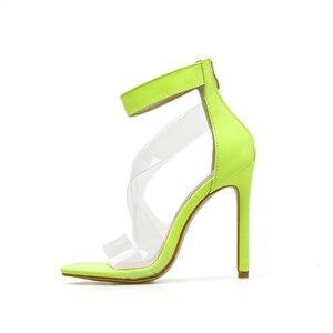 Image 4 - Kcenid 2020 جديد PVC حذاء امرأة أزياء المرأة الصيف الصنادل مثير عالية الكعب امرأة مفتوحة الصنادل سستة الصنادل المريحة الأخضر