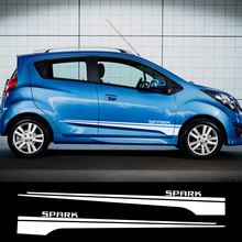 2pcs Car Stickers Racing Sport Stripes for Chevrolet Spark Auto Door Side Skirt Decals Car Styling Body Vinyl Car Accessories