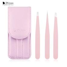 DUcare 3 PCS Eyebrow Tweezers Set Stainless Steel Flat Tip/Slant Tip/Point Tip Hair Removal Eye Tweezers with Pink Bag