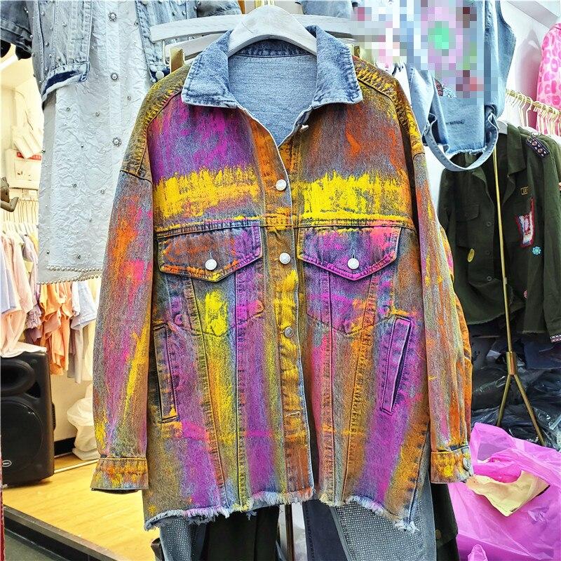 אירופאי Harajuku ז אן מעיל לנשים 2020 סתיו חדש מנוגדים צבע דש ג ינס מעיל נשים של רטרו BF ג ינס מעילים