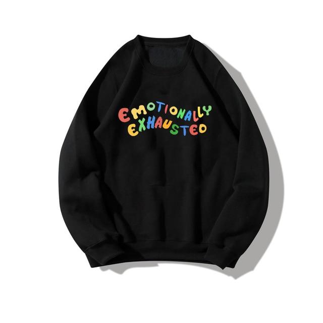 Korean Women sweatshirt Cute casual Hip hop gothic Black hoodie top tee print Harajuku top vintage oversize dropshipping clothes