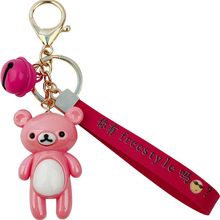 Korean cartoon cute  bear acrylic key chain creative bag pendant car accessories