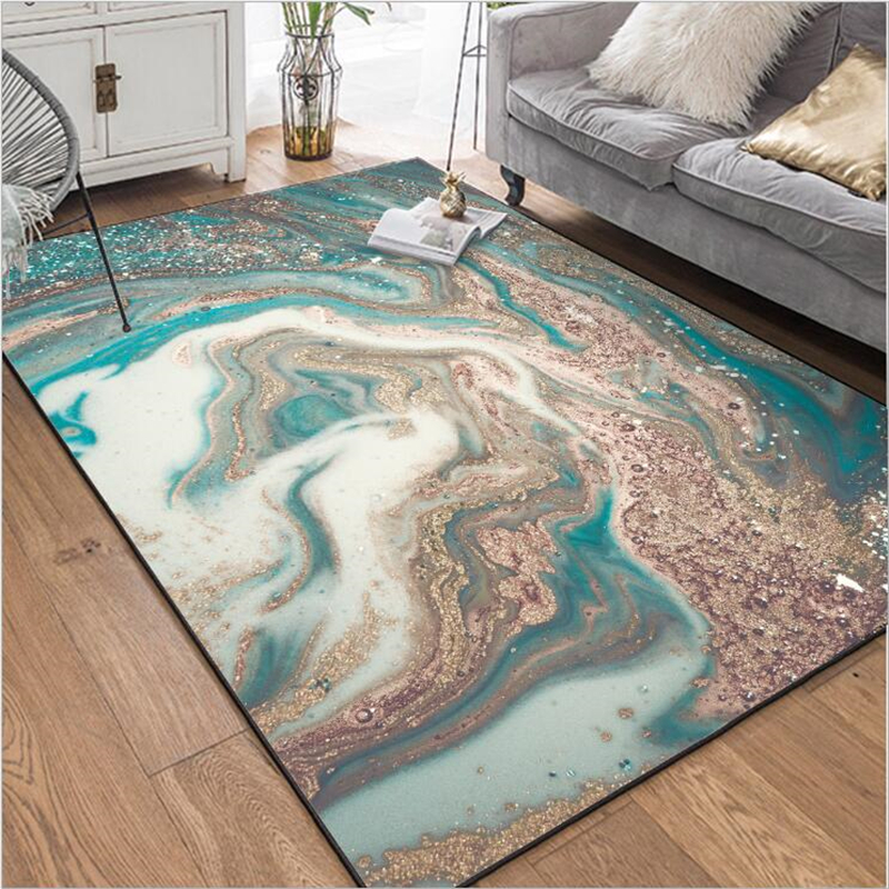 Carpets For Living Room Fashion Modern Abstract Marble Blue White Gold Rug Soft Coffee Table Mat Area Rug For Bedroom