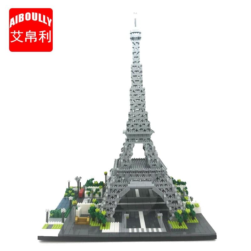 AIBOULLY 069 World Famous Architecture Paris Eiffel Tower 3D Model 3369pcs Mini Building Diamond Blocks Toy for Children
