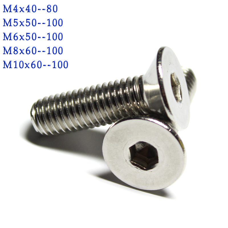 M5 M6 A4 STAINLESS STEEL MACHINE SCREWS FLAT COUNTERSUNK SLOTTED HEAD BOLTS